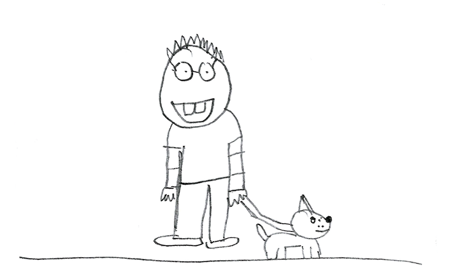 pencil drawing of person with dog
